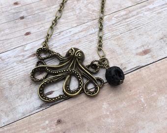 Octopus Antique Bronze Essential Oil Diffuser Pendant Necklace Lava Stone Necklace necklace Essential Oil Necklace Diffuser Necklace Aromat
