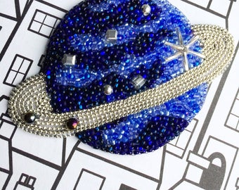 Blue Planet bag charm space accessory unique key chain beaded keyring bag pendant beadwork charm hand stamped pendant