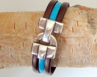 Man leather Turquoise/Brown, 13MM silver hook clasp bracelet