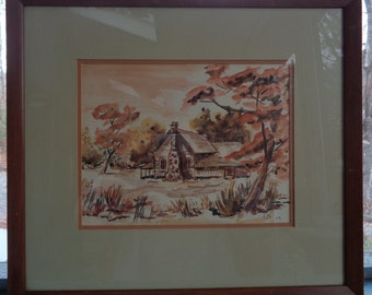 Mid Century Framed 16x18 Original Water Color Painting/ Vintage 1959 Signed L M / Country Scene House Cabin In The Woods/1950s Painting