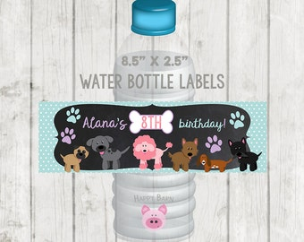 Printable Puppy Water Bottle Labels, Printable Pawty Labels, Puppy Party, Dog Water Bottle Labels, Paw-ty Party Favors, Chalkboard Puppy Dog