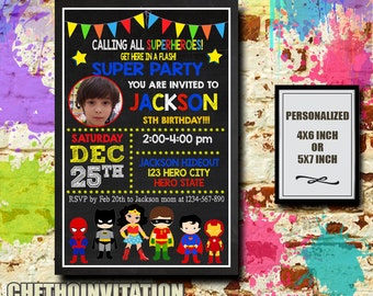 Superhero Invitation / Superhero Birthday / Superhero Party / Superhero Birthday Invitation / Superhero Birthday Party / Superhero kids / C6