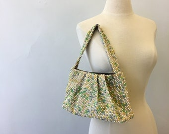 Candy-colored handbag * Vintage 1940s pixelated purse * 40s beaded summer bag