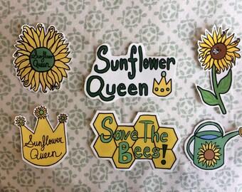 Sunflower Queen Save The Bees Vinyl Sticker Pack / Sunflower Stickers