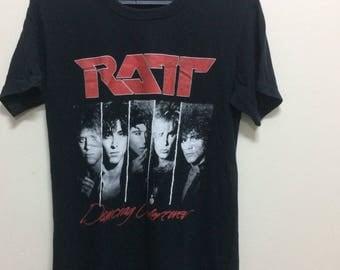 Vintage 80s shirt RATT//vintage band//small size//Japan made