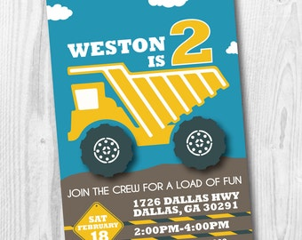 Construction Birthday Party Invitation - Boy Birthday Dump Truck