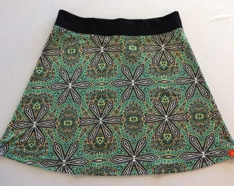 Bright Batik Print  Silky Skirt for Beach, Cruise, Biking or Office with Hidden Adjustable Tie Comfortable A-Line Cut Skims over Hips