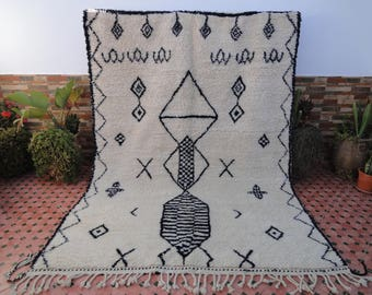 beni ourain vintage 100% WOOL handmade berber  moroccan rugs great texture