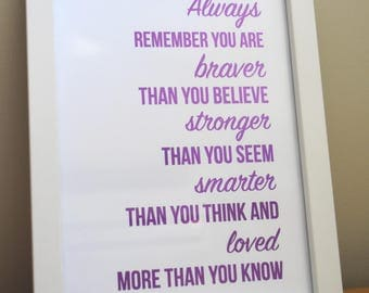 Always Remember You Are Braver foil print