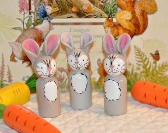 Peg dolls - rabbits - Little rabbits - animal-fields toys wooden