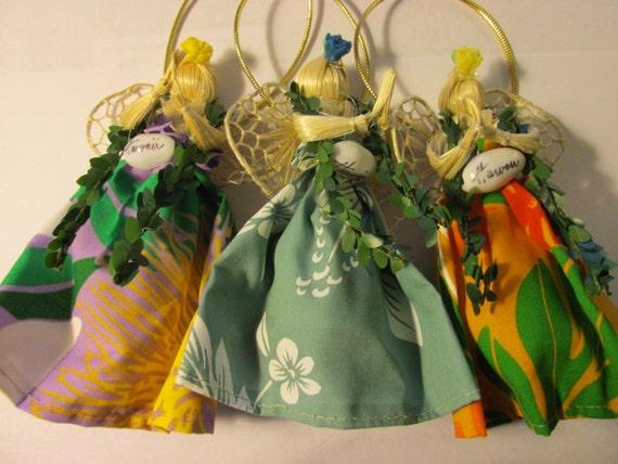 Handcrafted Hawaiian Hula Straw Angel Christmas Ornament-Tree