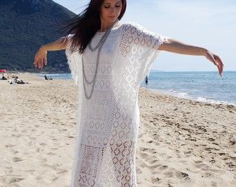 Crochet Kaftan, White Fringed Kaftan, Beach White Kaftan, Gipsy Maxi Dress, Maxi Cover Up, Crochet Cover Up, Crochet Maxi Dress, Size S/M