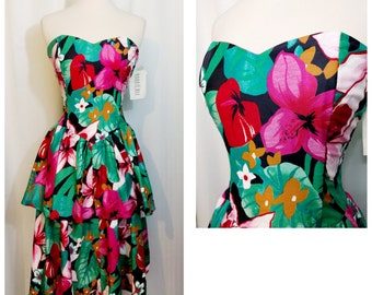 Robbie Bee Tropical Floral Print Strapless 80s Dress NOS