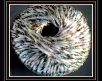 "Lurex effect yarn ""Anny""Luciole""viscose white colorful gloss Ribbon yarn in a vintage"""