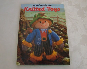 Jean Greenhow knitted Toys pattern book, vintage, 1980's, hard back with dust cover, over fifty toys to knit, dolls, animals, santa