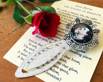Lord Byron Bookmark - Romantic Bookmark, Byron Gift, She Walks in Beauty Bookmark, Vintage Valentine Bookmark, Romantic Poetry Wedding Gift