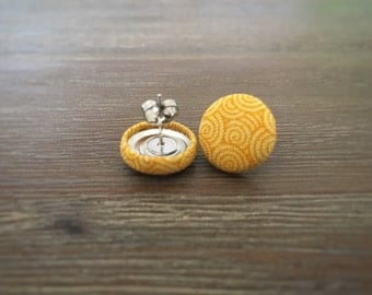 Yellow Earrings. Yellow Swirl Earrings. Handmade Earrings. Fabric Covered Button Earrings. Stud Earrings. Clip On Earrings. Drop Earrings.