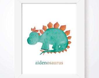 Personalised Dinosaur Print Dinosaurs Print Boys Room Prints Girls Room Prints Dino Print Custom Kids Prints Kids Room Prints Nursery Decor