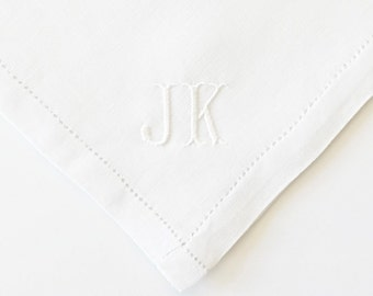 Custom Men's Monogrammed Embroidered Handkerchief, Pocket Square, Classic Font, Cotton or Linen Hemstitched