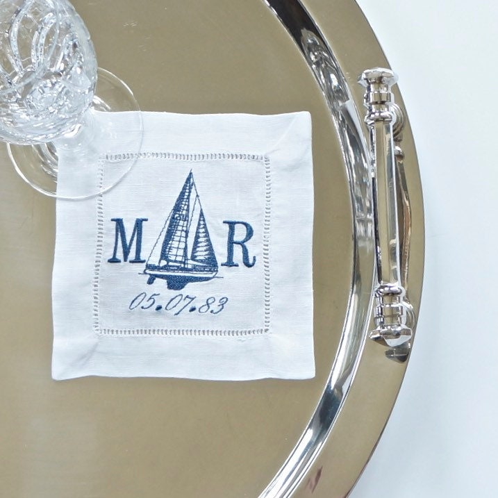 Yacht Nautical Design Double Monogram Embroidered Dinner