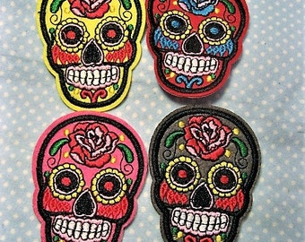 Sugar Skull Iron-On Patch (Choose Color)