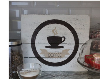 Rustic Reclaimed Wood Coffee Sign, Coffee Station, Wood Sign, Kitchen Sign