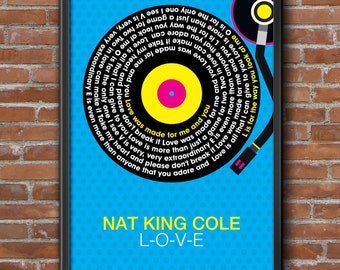 Nat King Cole - Love Song Lyrics Wall Art Poster Print.