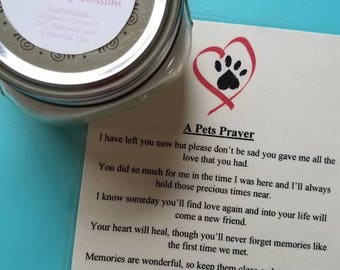 Pet Grief, A Pets Prayer Candle and Poem, Organic Coconut Oil Candles, Choose Your Scent, Nontoxic, Chemical and Dye Free Pet Memorial