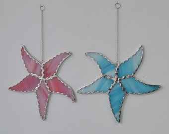 Sea Starfish stained glass suncatcher