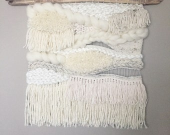 Woven wall hanging // MADE TO ORDER / Wall Hanging / Cream White Neutral / Nursery Art / Home Decor / Boho / Wall Art /