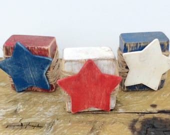 Red, White and Blue Blocks with Stars-Fourth of July Decor-Americana Home Decor