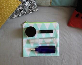 Geometric blue flat pouch / Kit printed triangle / Mini kit of toilet / fluo Green