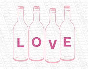 LOVE rastic glass bottles Svg clipart, vector by SpeecchBubble
