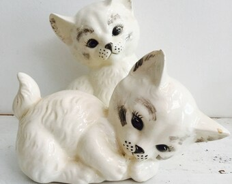 Vintage Ceramic Cat Pair Kittens