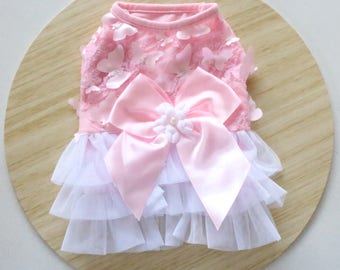 Pink Butterfly tulle dress / Pink and white dress for Rabbits, dogs and small pets