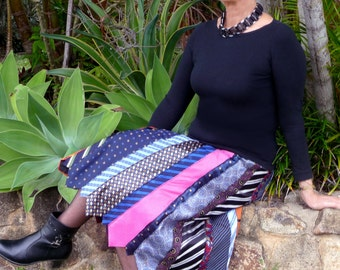 Tie skirt -multi-coloured - medium - unique - stylish - classy - funky - Australian Made - recycled men's ties