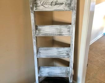 blanket ladder, wooden ladder, wooden blanket ladder, towel ladder, rustic ladder, vintage ladder, country decor, rustic decor, custom