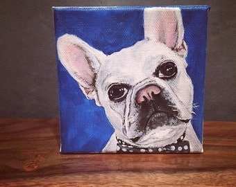 Custom hand painted pet portraits on canvas