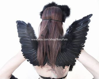 Dark Angel Wings Feathered