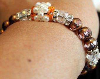 Cute Pearl & glass-beaded shamballa bracelet with tassels; handmade, beadweaving, beautiful, party wear, casual wear, brown, white, clear