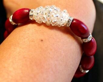 Cute glass & wooden beaded handmade shamballa bracelet; beadweaving, elegant, casual wear,party wear