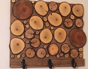 Coat Rack - Wood Slice Coat Rack - Wood Slice decor - Rustic Decor - Wood Slice Art - Hat rack - Towel Rack - Rustic Decor - wood coat rack