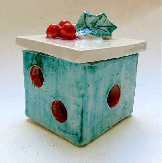 Ceramic Holiday Christmas Present Gift Box with three dimensional holly berries on top