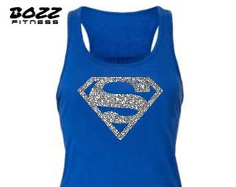 Supergirl Shirt, SuperGirl Tank Top, Super Girl, Womens Workout Tank Top, Silver Glitter Racerback, FREE SHIPPING.