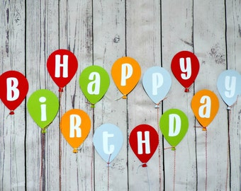 Happy Birthday banner, Balloon themed happy birthday banner,  Balloon birthday banner, Balloon Birthday party, Happy first birthday