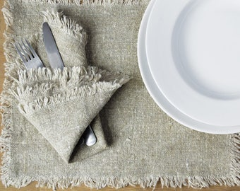 Rustic Natural Linen Placemats with Fringes | Set of 6