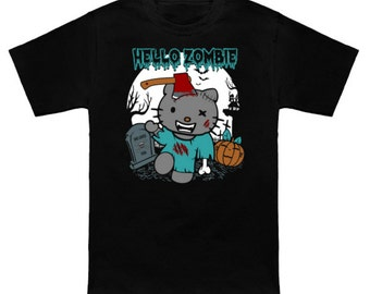 HELLO ZOMBIE Hello Kitty Mash-Up Sanrio The Walking Dead Geek T-Shirt Nerd Horror Anime Shirt