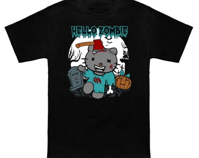 HELLO ZOMBIE Hello Kitty Mash-Up Sanrio The Walking Dead Geek T-Shirt Nerd Horror Anime Shirt