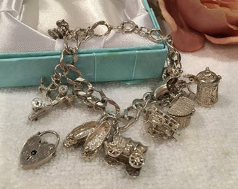 Lovely Quality Vintage SOLID Sterling Silver CHARM Bracelet-13 Different Charms-Plus Free Heart LOCK-Stamped for Sterling-Weighs 53.10 grams