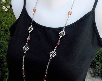 Long silver crystal necklace, red and copper swarovski large beads, eastern oriental style jewelry, silver filigree, surgical steel chain